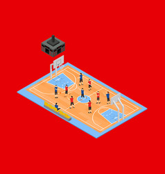 basketball field 3d isometric view vector image