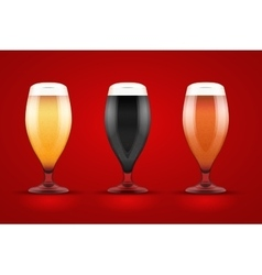 Beer glass with three brands vector image vector image