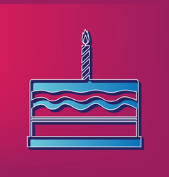 Birthday cake sign blue 3d printed icon vector