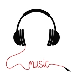 Black headphones with cord in shape word music vector