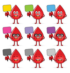 Blood group icon with drop cartoon set vector