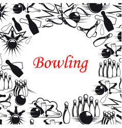 bowling ball and pins poster for sport game design vector image