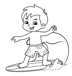 boy surfing with his surfboard bw vector image
