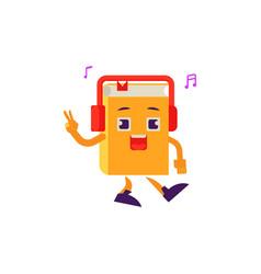 Cartoon book character dancing headphones vector