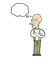 Cartoon mean old man with thought bubble vector