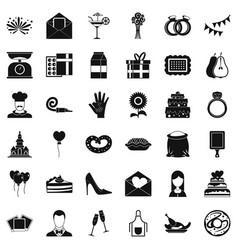 Celebration cake icons set simple style vector