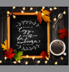 Chalkboard with autumn leaves vector