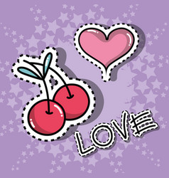 cherry and heart cute patches sticker vector image