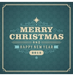 Christmas retro typography and ornament decoration vector image