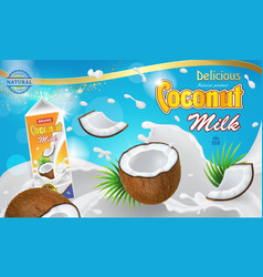 Coconut milk ads 3d realistic vector