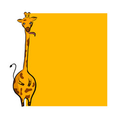 cute cartoon giraffe with place vector image