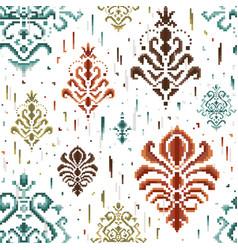 Damask ethnic seamless pattern in pixel art vector