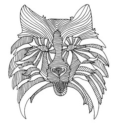 Decorative dog head black and white abstract vector