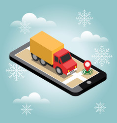 Delivery isometric 3d truck with cargo snow vector
