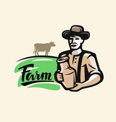 Farmer with milk vector