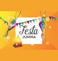 festa junina background template vector image