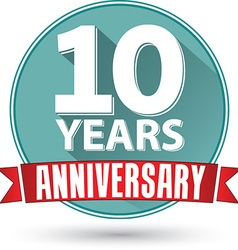Flat design 10 years anniversary label with red vector