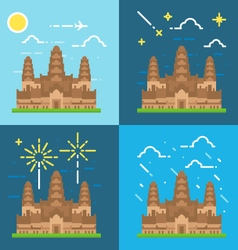Flat design 4 styles of Angkor Wat Cambodia vector image