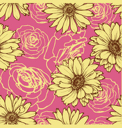 floral seamless pattern over pink background vector image