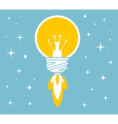 flying yellow lightbulb on blue backgroun vector image