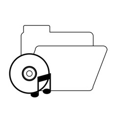 Folder with music cd rom in black and white vector