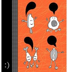 Funny food cartoons vector image
