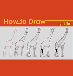 giraffe draw tutorial vector image