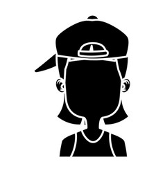 girl faceless with hat cartoon vector image