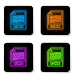 glowing neon doc file document icon download doc vector image