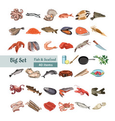 hand drawn colorful seafood set vector image
