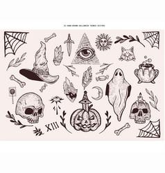 Hand-drawn halloween themed se vector