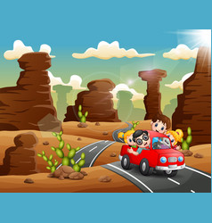 happy children traveling by red car through the de vector image