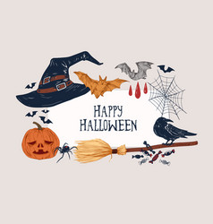 Happy halloween greeting background with place for vector