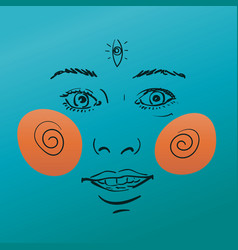 Happy woman face with third eye and spiral cheeks vector
