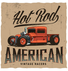 hot rod american racers poster vector image