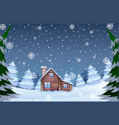 House in the winter forest vector