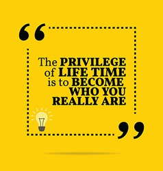 Inspirational motivational quote The privilege of vector image