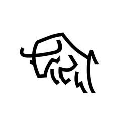 Jumping bull line monoline logo icon vector