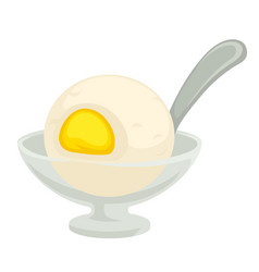Lemon sorbet isolated dish ice cream with fruit vector