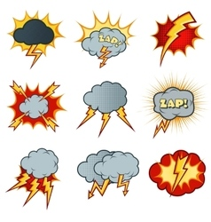 Lightning icons set in cartoon comic style vector image