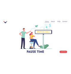 Long wait appointment landing page template vector