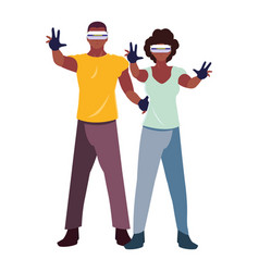 Man and woman using technology augmented vector