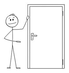 Man or businessman showing entrance or exit door vector