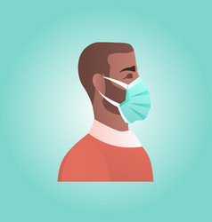 Man wearing protective mask against corona virus vector