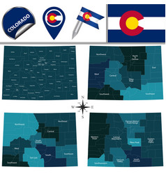 Map of colorado with regions vector