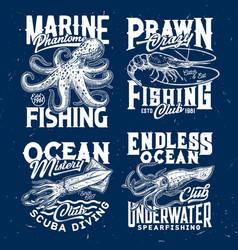Marine prawn fishing scuba diving club print vector