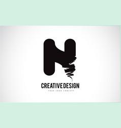 N letter logo design brush paint stroke artistic vector