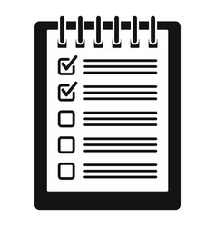 notebook checklist icon simple style vector image