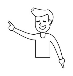 Outlined happy guy celebrate vector