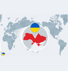 Pacific centered world map with magnified ukraine vector